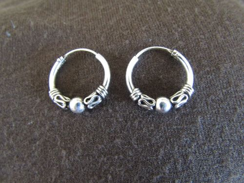 Silver Decorated 14mm Hoop Eearrings