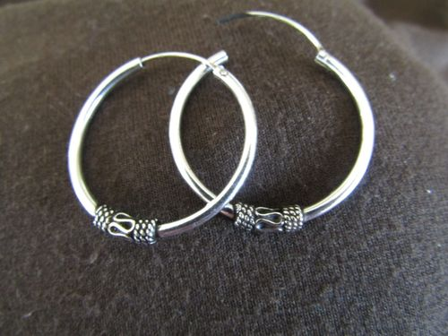 Silver 25mm Decorated Hoop Earrings