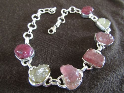 Silver Rough Tourmaline Bracelet