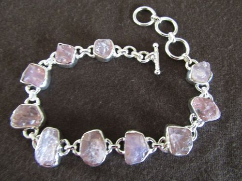 Silver Rough Rose Quartz Bracelet