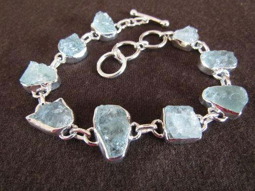 Silver Rough Aquamarine Bracelet