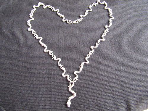 Oxidised Silver Snake Necklace